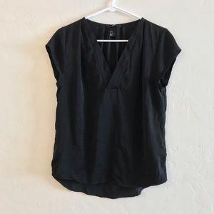H&M Black Basic Cap Sleeve Split Neck Blouse 6